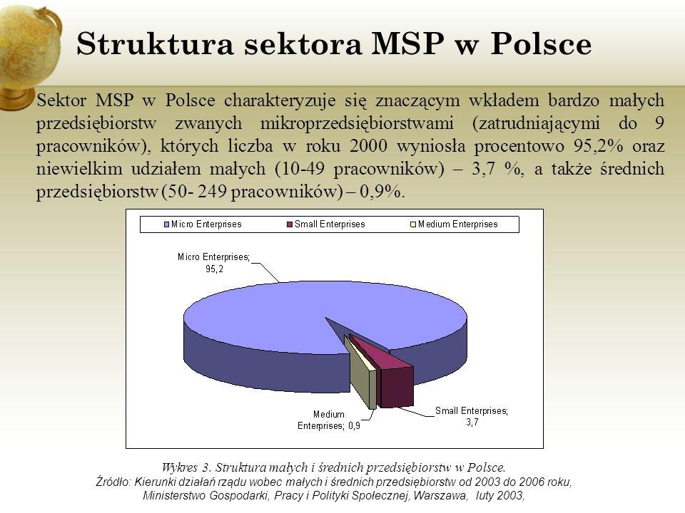 Struktura sektora MSP w Polsce Wykres 3. Struktura małych i średnich przedsiębiorstw w Polsce. Źródło: Kierunki działań rządu wobec małych i średnich