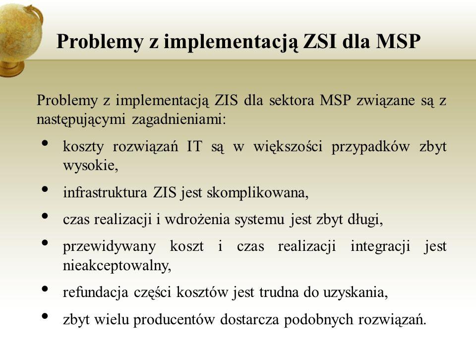 Problemy z implementacją ZSI dla MSP Problemy z implementacją ZIS dla sektora MSP związane są z następującymi zagadnieniami: koszty rozwiązań IT są w