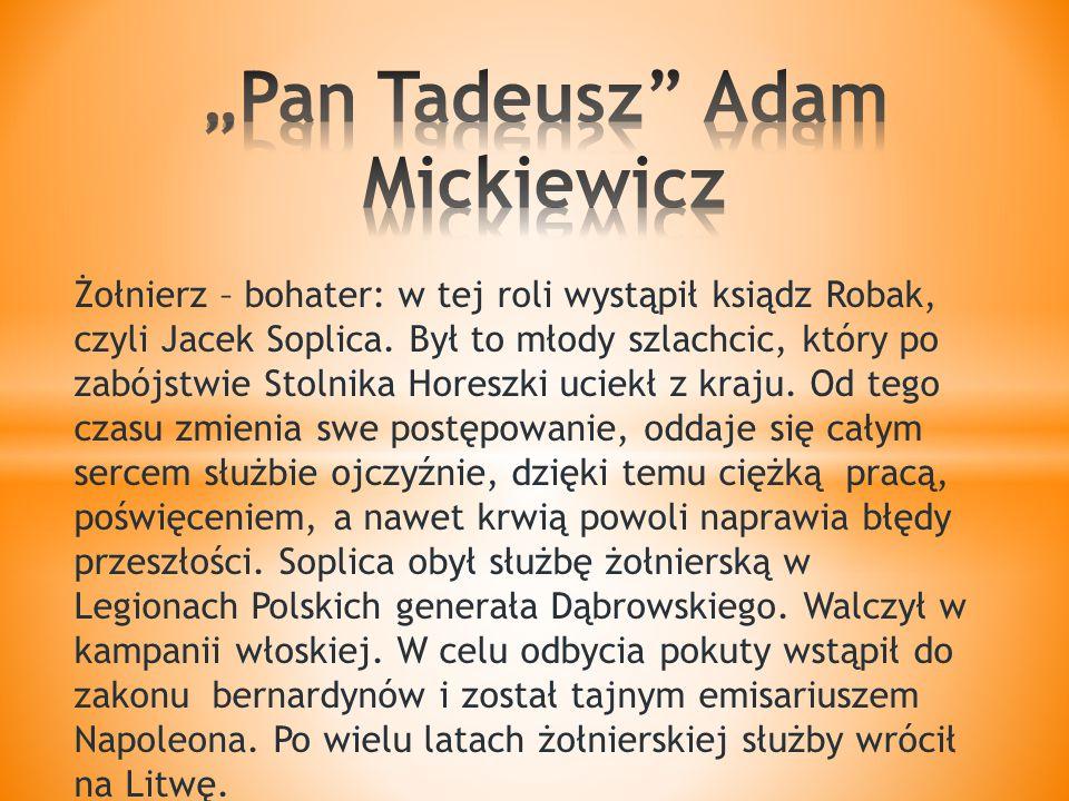Żołnierz – bohater: w tej roli wystąpił ksiądz Robak, czyli Jacek Soplica.