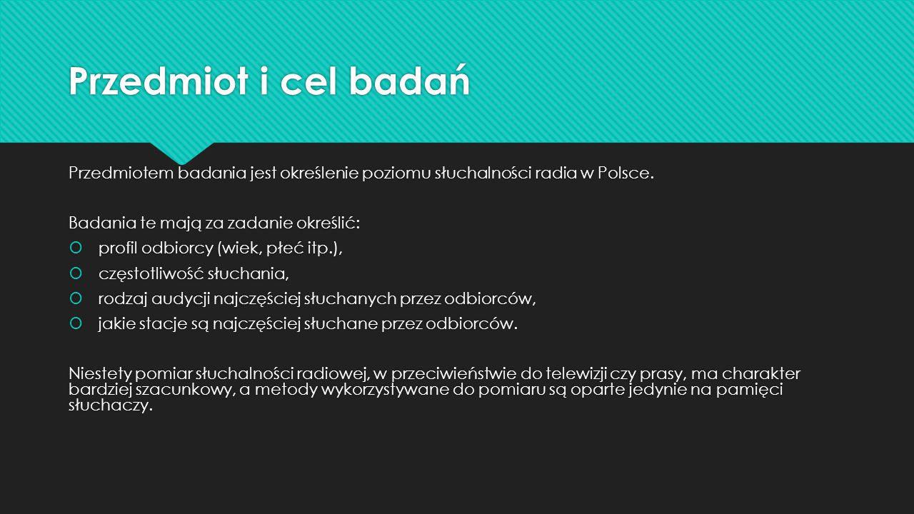 Przedmiot i cel badań Przedmiotem badania jest określenie poziomu słuchalności radia w Polsce. Badania te mają za zadanie określić:  profil odbiorcy