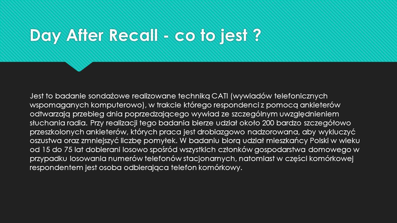 Day After Recall - co to jest ? Jest to badanie sondażowe realizowane techniką CATI (wywiadów telefonicznych wspomaganych komputerowo), w trakcie któr