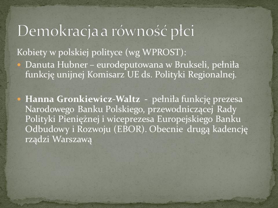 Kobiety w polskiej polityce (wg WPROST): Danuta Hubner – eurodeputowana w Brukseli, pełniła funkcję unijnej Komisarz UE ds.