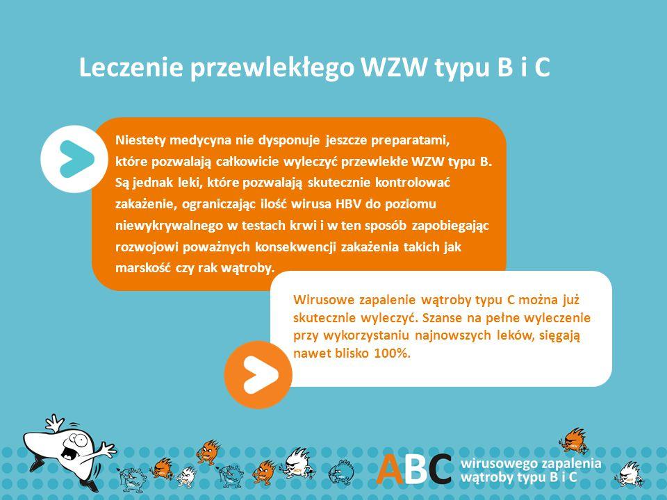 Leczenie przewlekłego WZW typu B i C Niestety medycyna nie dysponuje jeszcze preparatami, które pozwalają całkowicie wyleczyć przewlekłe WZW typu B. S