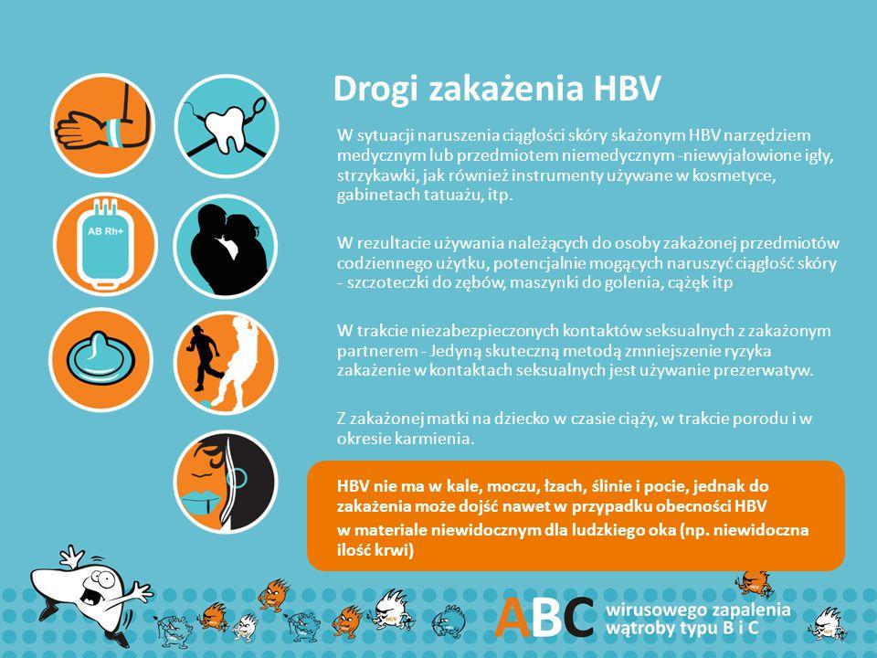 Drogi zakażenia HBV W sytuacji naruszenia ciągłości skóry skażonym HBV narzędziem medycznym lub przedmiotem niemedycznym -niewyjałowione igły, strzyka