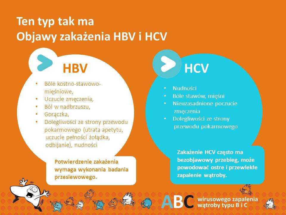 Ten typ tak ma Objawy zakażenia HBV i HCV HBV Bóle kostno-stawowo- mięśniowe, Uczucie zmęczenia, Ból w nadbrzuszu, Gorączka, Dolegliwości ze strony pr