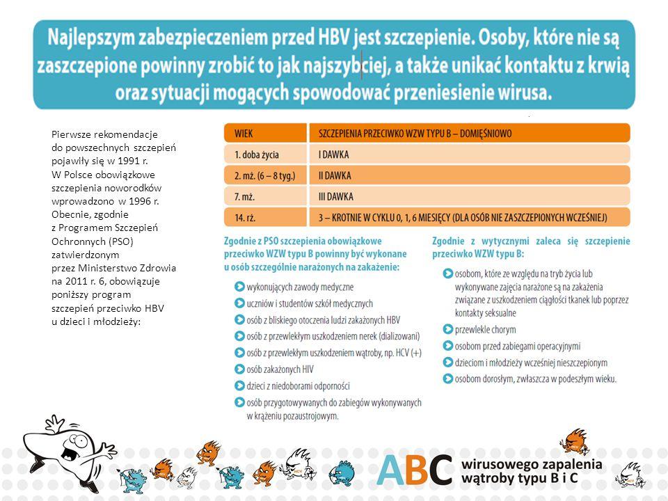 Pierwsze rekomendacje do powszechnych szczepień pojawiły się w 1991 r. W Polsce obowiązkowe szczepienia noworodków wprowadzono w 1996 r. Obecnie, zgod