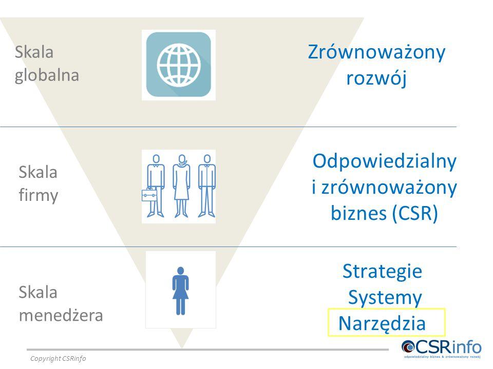 Skala globalna Skala firmy Skala menedżera Idea Wyniki Zrównoważony rozwój Odpowiedzialny i zrównoważony biznes (CSR) Strategie Systemy Narzędzia Copy