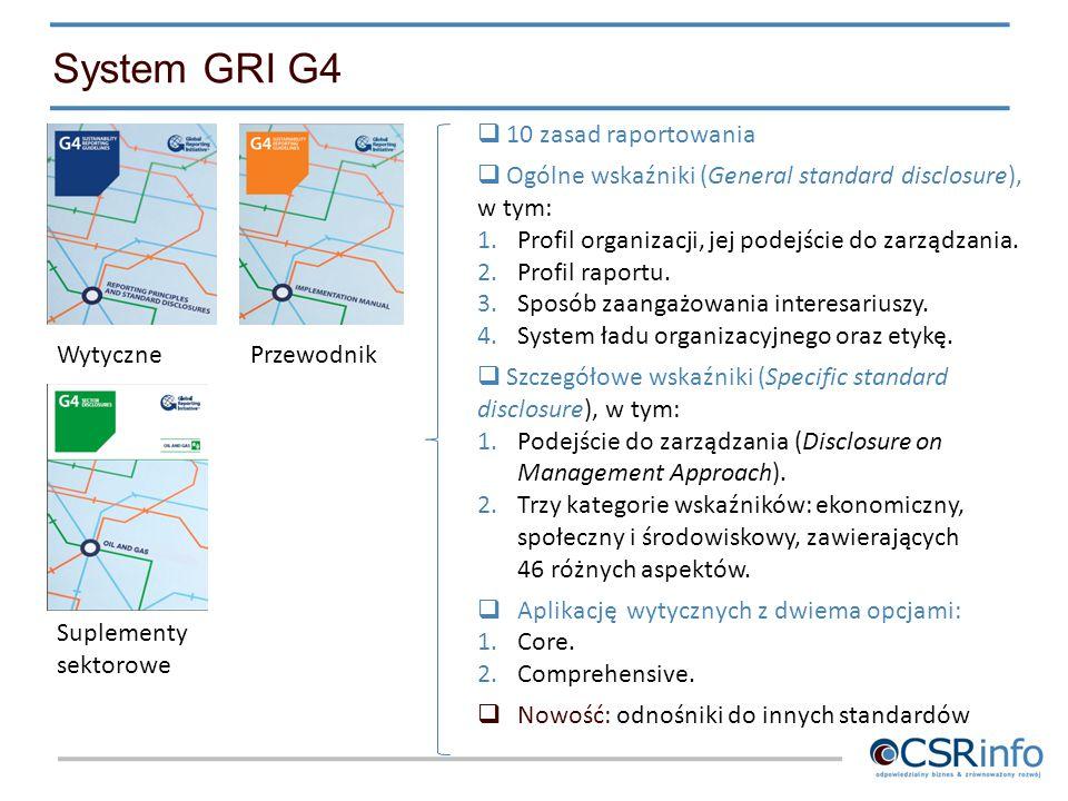 System GRI G4 WytycznePrzewodnik Suplementy sektorowe  10 zasad raportowania  Ogólne wskaźniki (General standard disclosure), w tym: 1.Profil organi