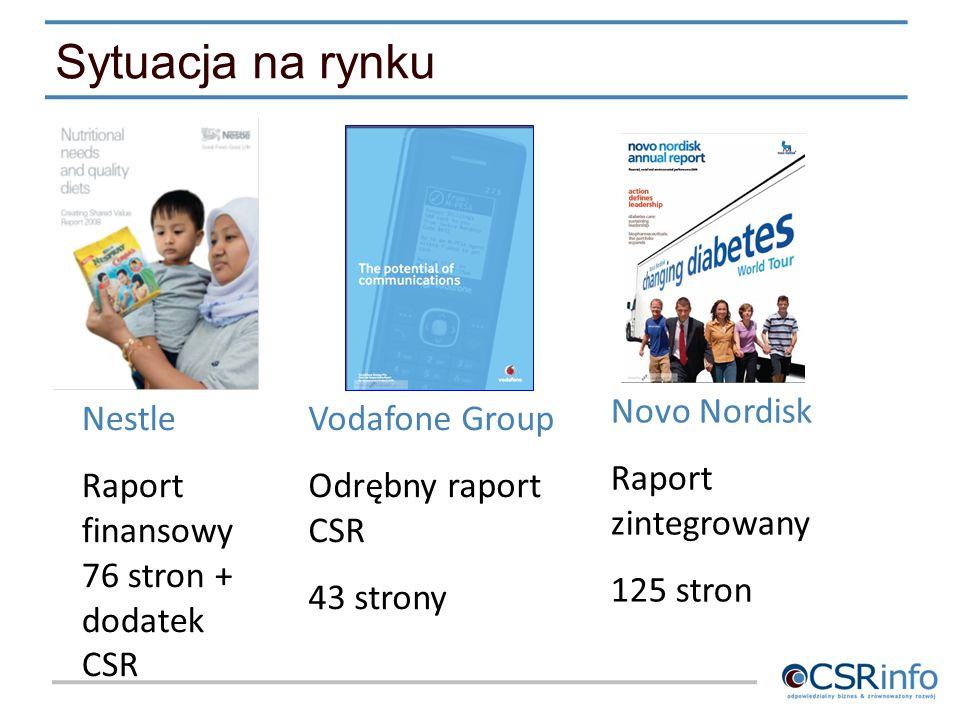 Vodafone Group Odrębny raport CSR 43 strony Novo Nordisk Raport zintegrowany 125 stron Nestle Raport finansowy 76 stron + dodatek CSR Sytuacja na rynk