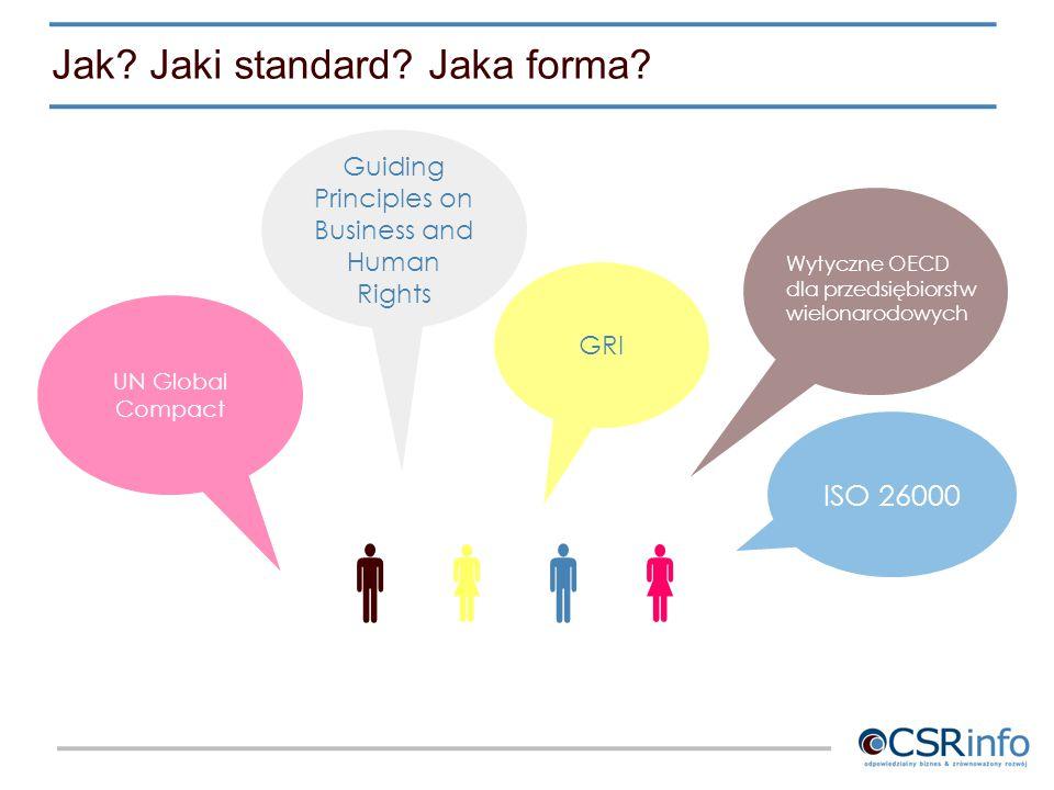 Jak? Jaki standard? Jaka forma?  UN Global Compact Guiding Principles on Business and Human Rights ISO 26000 GRI Wytyczne OECD dla przedsiębio