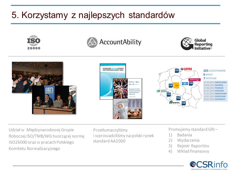 5. Korzystamy z najlepszych standardów Udział w Międzynarodowej Grupie Roboczej ISO/TMB/WG tworzącej normę ISO26000 oraz w pracach Polskiego Komitetu