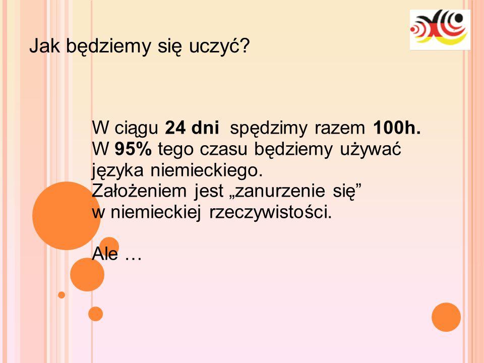 """10-1-25 Jak będziemy się uczyć? W ciągu 24 dni spędzimy razem 100h. W 95% tego czasu będziemy używać języka niemieckiego. Założeniem jest """"zanurzenie"""