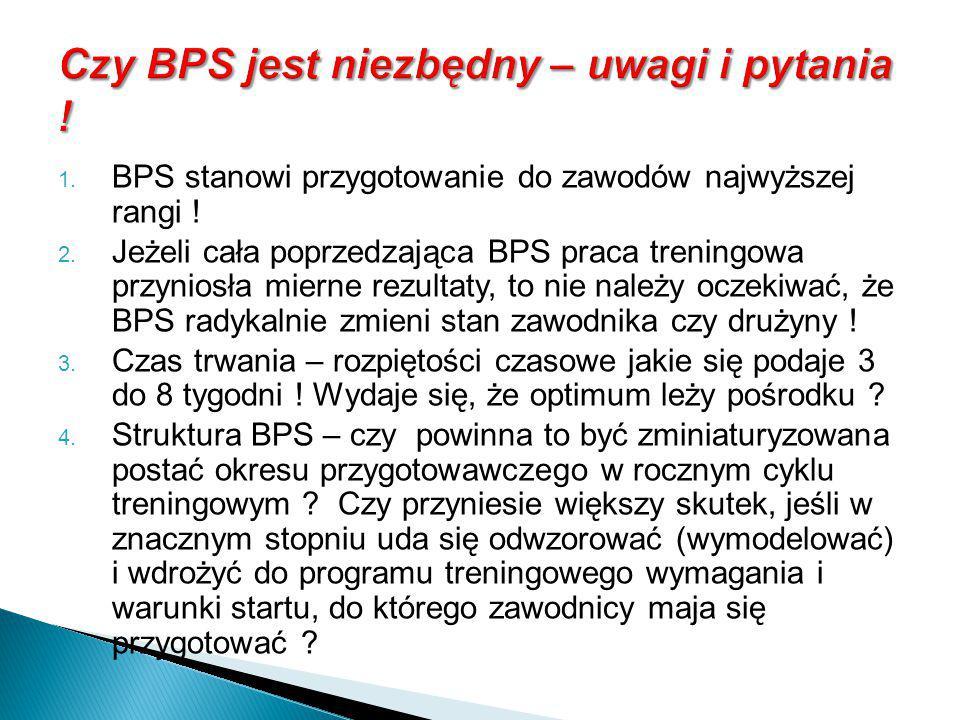  BPS stanowi przygotowanie do zawodów najwyższej rangi !  Jeżeli cała poprzedzająca BPS praca treningowa przyniosła mierne rezultaty, to nie należ