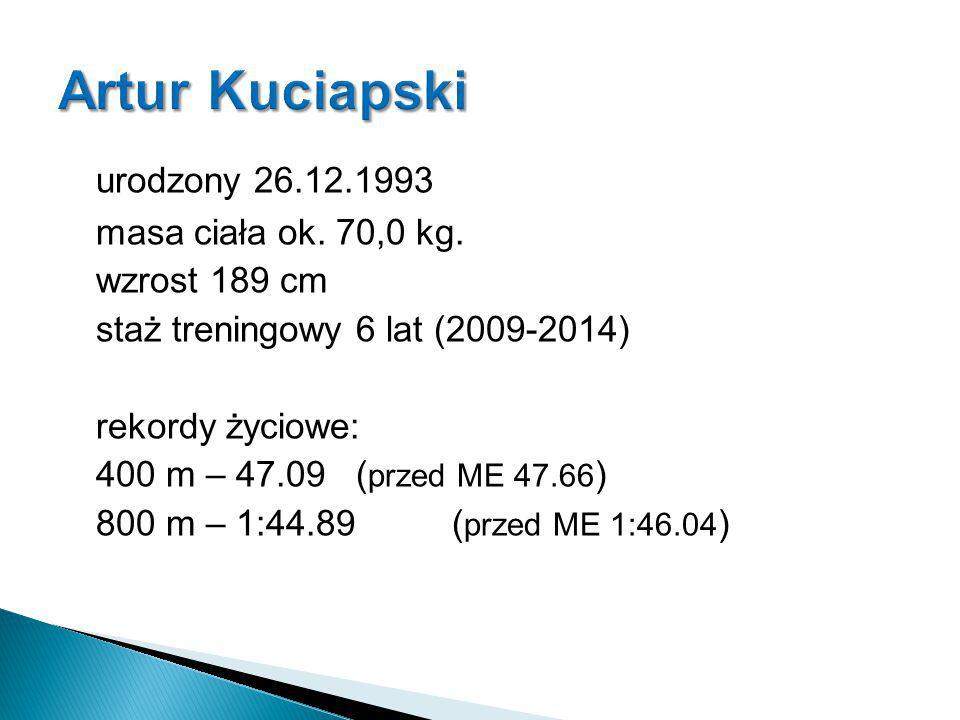 urodzony 26.12.1993 masa ciała ok. 70,0 kg. wzrost 189 cm staż treningowy 6 lat (2009-2014) rekordy życiowe: 400 m – 47.09 ( przed ME 47.66 ) 800 m –