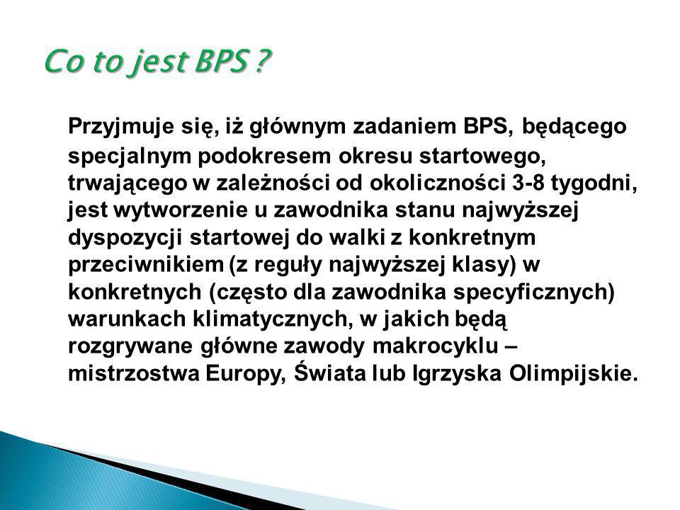 Przyjmuje się, iż głównym zadaniem BPS, będącego specjalnym podokresem okresu startowego, trwającego w zależności od okoliczności 3-8 tygodni, jest wy