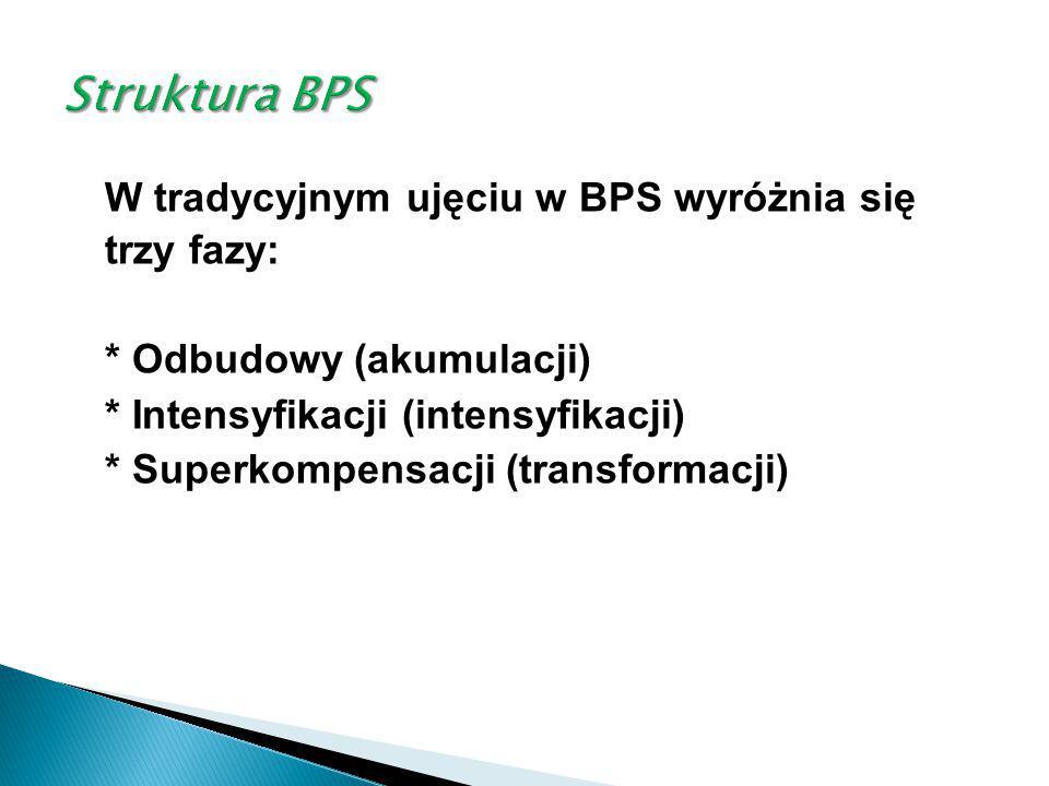 W tradycyjnym ujęciu w BPS wyróżnia się trzy fazy: * Odbudowy (akumulacji) * Intensyfikacji (intensyfikacji) * Superkompensacji (transformacji)