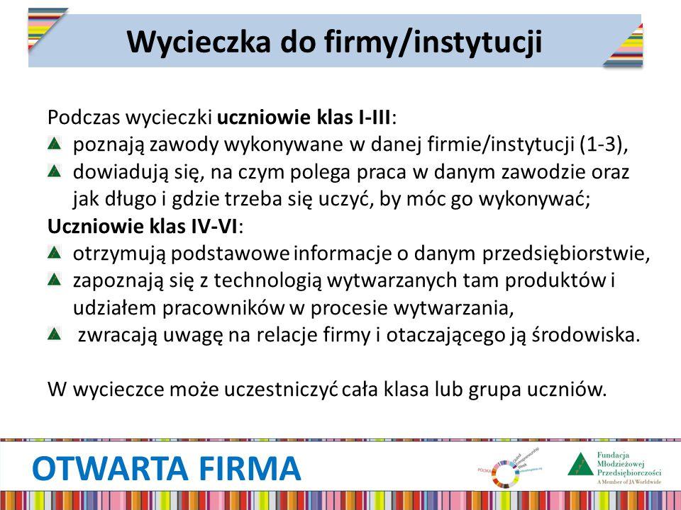 OTWARTA FIRMA Wycieczka do firmy/instytucji Podczas wycieczki uczniowie klas I-III: poznają zawody wykonywane w danej firmie/instytucji (1-3), dowiadują się, na czym polega praca w danym zawodzie oraz jak długo i gdzie trzeba się uczyć, by móc go wykonywać; Uczniowie klas IV-VI: otrzymują podstawowe informacje o danym przedsiębiorstwie, zapoznają się z technologią wytwarzanych tam produktów i udziałem pracowników w procesie wytwarzania, zwracają uwagę na relacje firmy i otaczającego ją środowiska.