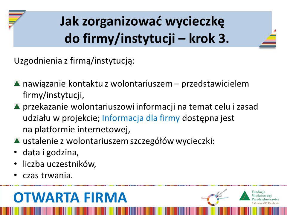 OTWARTA FIRMA Jak zorganizować wycieczkę do firmy/instytucji – krok 3. Uzgodnienia z firmą/instytucją: nawiązanie kontaktu z wolontariuszem – przedsta