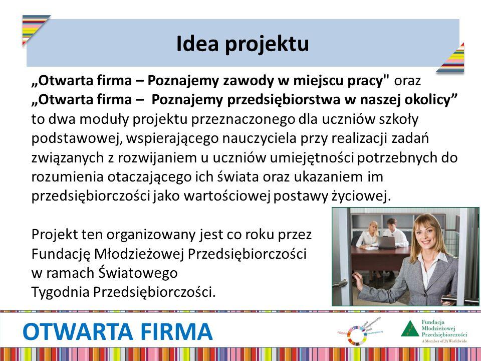 """OTWARTA FIRMA Idea projektu """"Otwarta firma – Poznajemy zawody w miejscu pracy"""