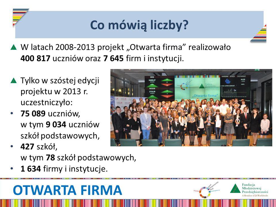 """OTWARTA FIRMA Co mówią liczby? W latach 2008-2013 projekt """"Otwarta firma"""" realizowało 400 817 uczniów oraz 7 645 firm i instytucji. Tylko w szóstej ed"""
