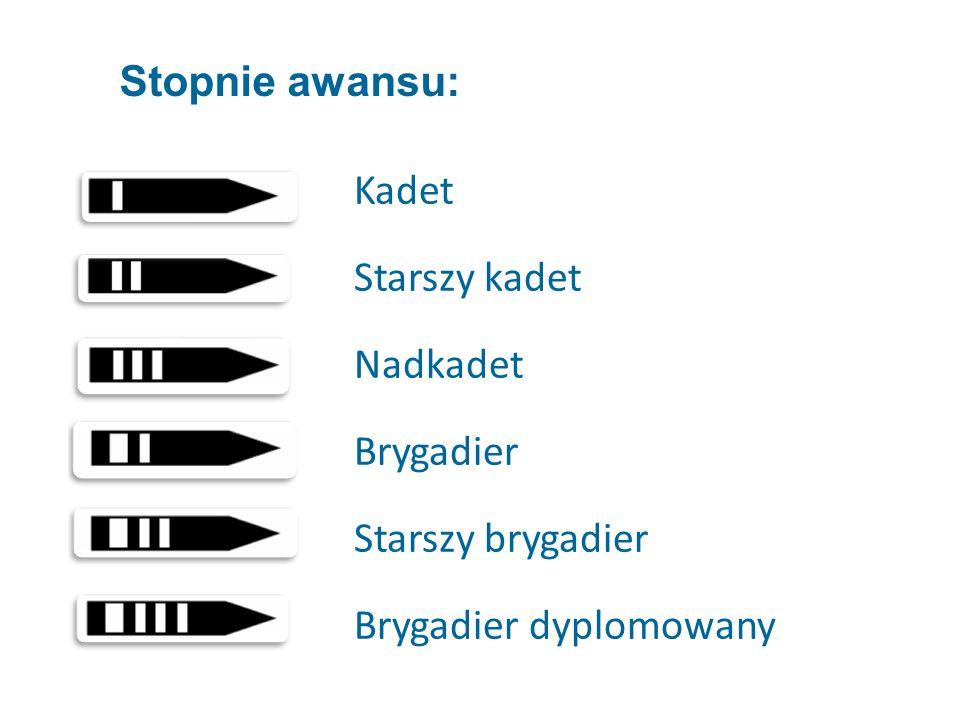 Kadet Starszy kadet Nadkadet Brygadier Starszy brygadier Brygadier dyplomowany Stopnie awansu: