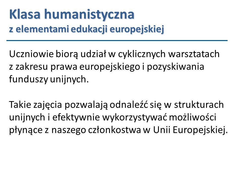 Uczniowie biorą udział w cyklicznych warsztatach z zakresu prawa europejskiego i pozyskiwania funduszy unijnych.