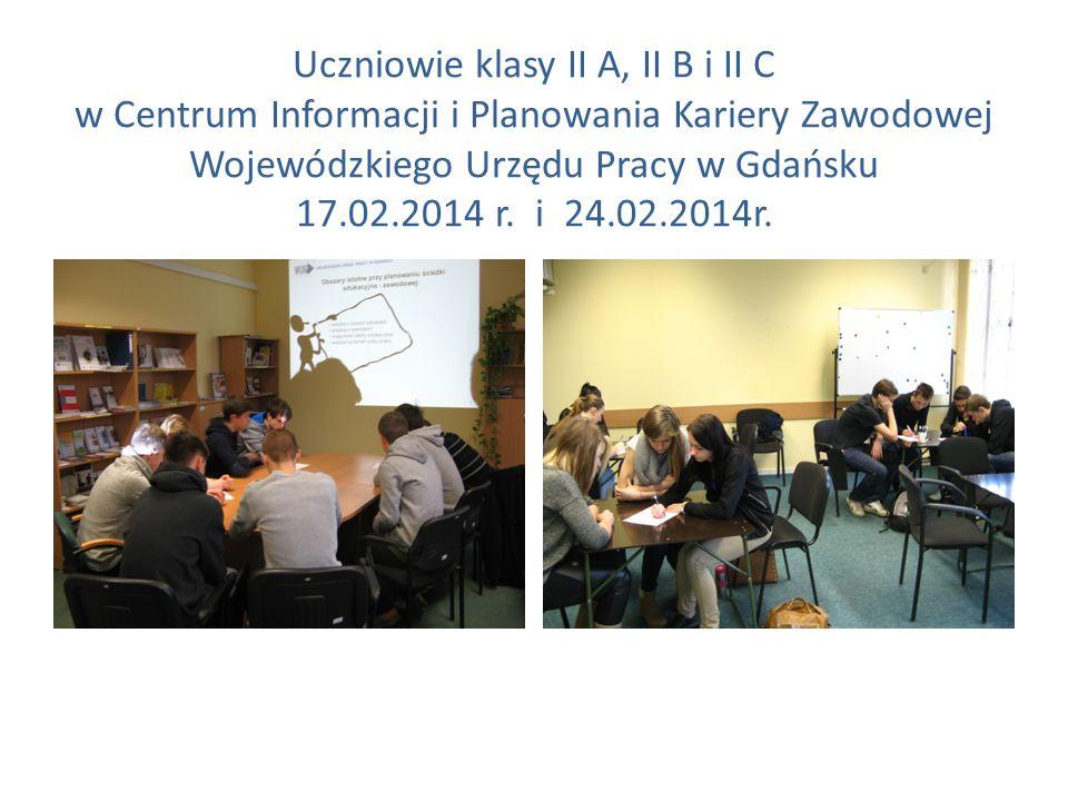 Uczniowie klasy II A, II B i II C w Centrum Informacji i Planowania Kariery Zawodowej Wojewódzkiego Urzędu Pracy w Gdańsku 17.02.2014 r. i 24.02.2014r