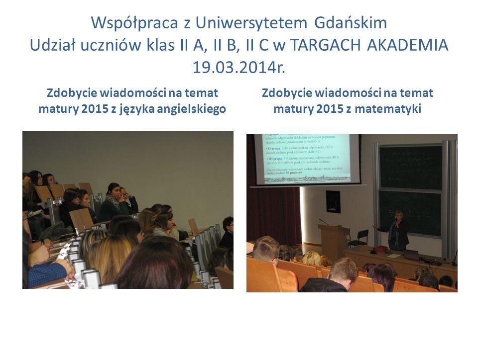 Współpraca z Uniwersytetem Gdańskim Udział uczniów klas II A, II B, II C w TARGACH AKADEMIA 19.03.2014r. Zdobycie wiadomości na temat matury 2015 z ję