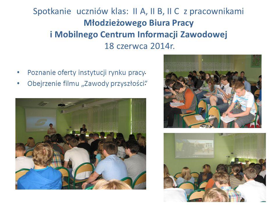 Spotkanie uczniów klas: II A, II B, II C z pracownikami Młodzieżowego Biura Pracy i Mobilnego Centrum Informacji Zawodowej 18 czerwca 2014r. Poznanie