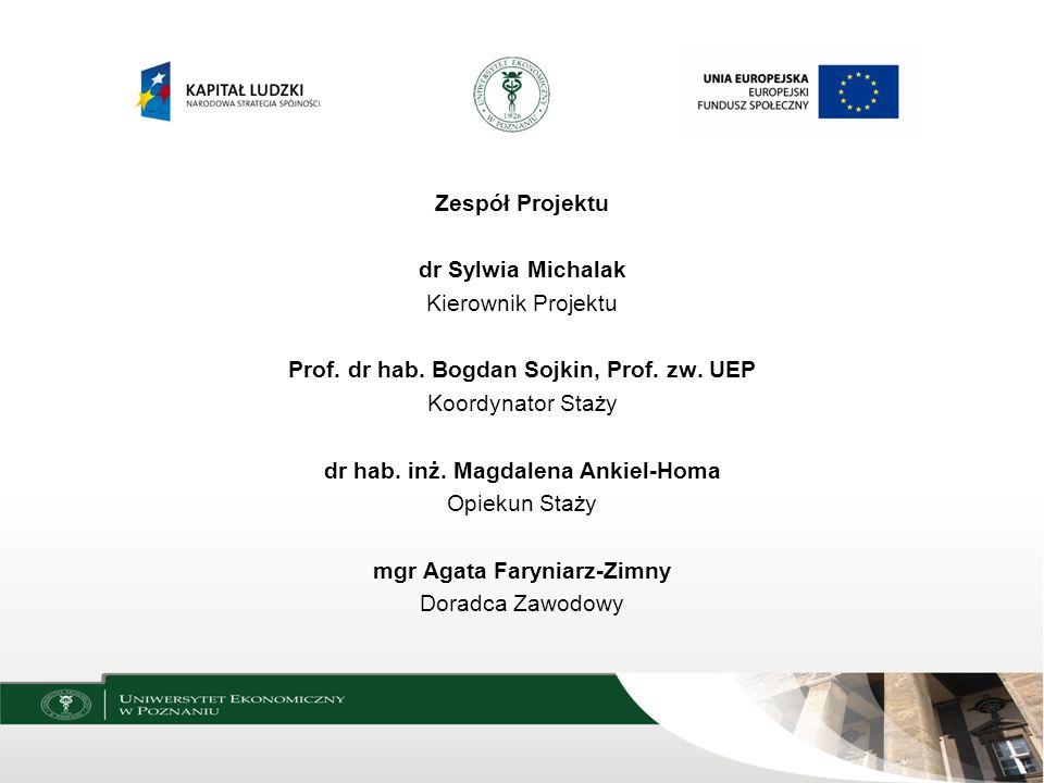 Zespół Projektu dr Sylwia Michalak Kierownik Projektu Prof. dr hab. Bogdan Sojkin, Prof. zw. UEP Koordynator Staży dr hab. inż. Magdalena Ankiel-Homa