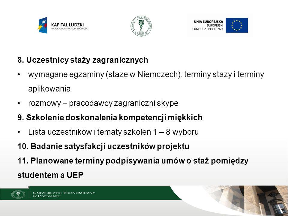 8. Uczestnicy staży zagranicznych wymagane egzaminy (staże w Niemczech), terminy staży i terminy aplikowania rozmowy – pracodawcy zagraniczni skype 9.