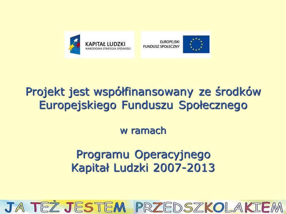 Projekt jest współfinansowany ze środków Europejskiego Funduszu Społecznego w ramach Programu Operacyjnego Kapitał Ludzki 2007-2013