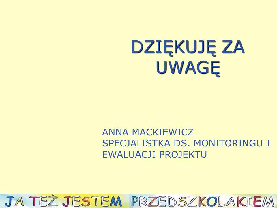 DZIĘKUJĘ ZA UWAGĘ ANNA MACKIEWICZ SPECJALISTKA DS. MONITORINGU I EWALUACJI PROJEKTU