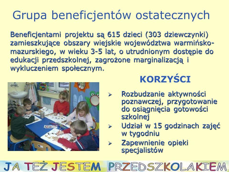  Wzrost motywacji rodziców do udziału w procesie rozwojowym ich dzieci, a także umiejętności pracy z dziećmi  Możliwość udziału w życiu ośrodków  Aktywny wspieranie procesu rozwojowego dzieci  Możliwość korzystania ze specjalistycznego poradnictwa  Możliwość udziału w szkoleniach KORZYŚCI ~ Rodzice/opiekunowie ~