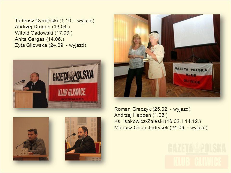 Tadeusz Cymański (1.10. - wyjazd) Andrzej Drogoń (13.04.) Witold Gadowski (17.03.) Anita Gargas (14.06.) Zyta Gilowska (24.09. - wyjazd) Roman Graczyk