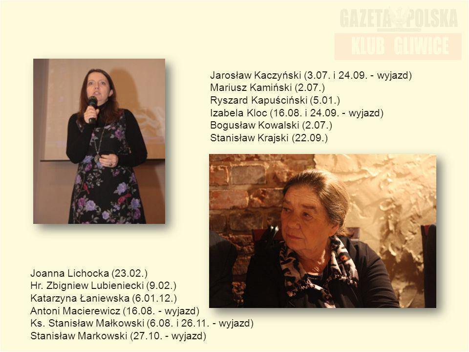Jarosław Kaczyński (3.07. i 24.09. - wyjazd) Mariusz Kamiński (2.07.) Ryszard Kapuściński (5.01.) Izabela Kloc (16.08. i 24.09. - wyjazd) Bogusław Kow