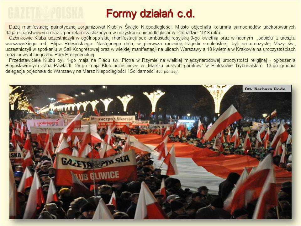 Dużą manifestację patriotyczną zorganizował Klub w Święto Niepodległości. Miasto objechała kolumna samochodów udekorowanych flagami państwowymi oraz z