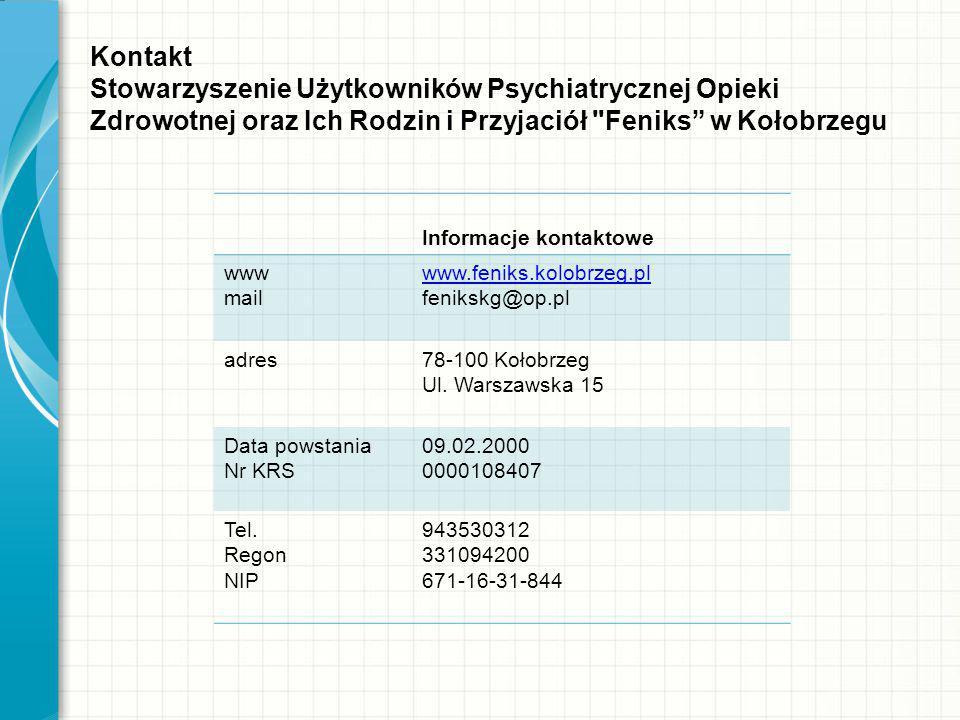 Kontakt Stowarzyszenie Użytkowników Psychiatrycznej Opieki Zdrowotnej oraz Ich Rodzin i Przyjaciół
