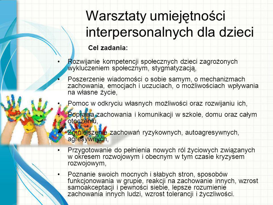 Warsztaty umiejętności interpersonalnych dla dzieci Cel zadania: Rozwijanie kompetencji społecznych dzieci zagrożonych wykluczeniem społecznym, stygma
