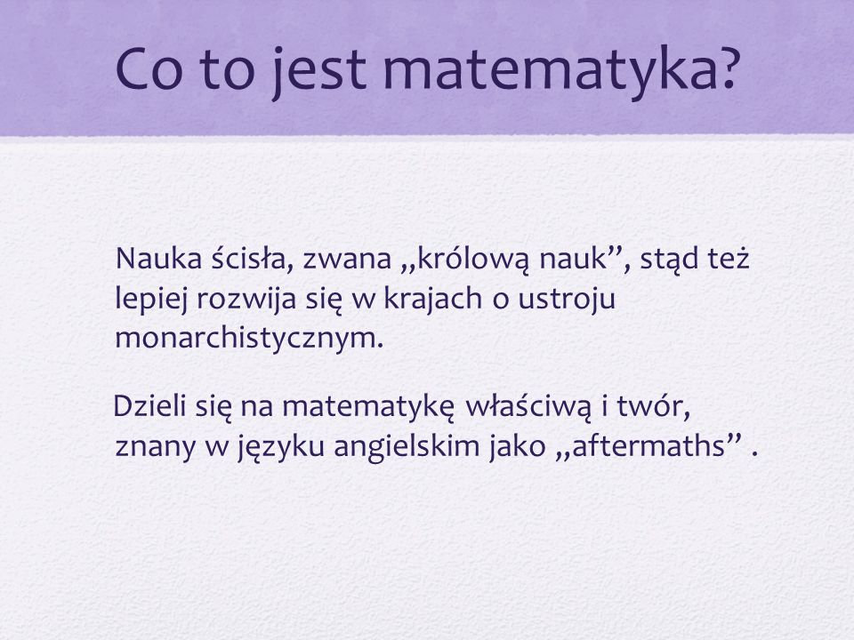 Co to jest matematyka.