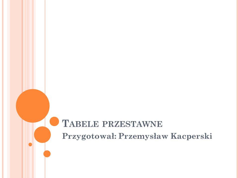 T ABELE PRZESTAWNE Przygotował: Przemysław Kacperski