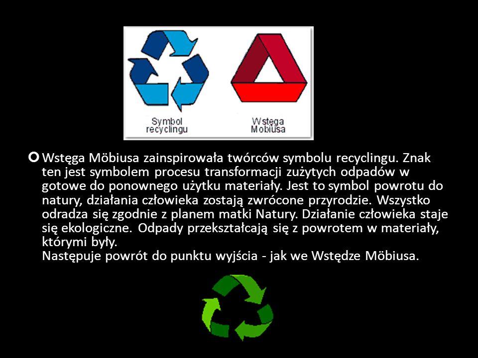 Wstęga Möbiusa zainspirowała twórców symbolu recyclingu. Znak ten jest symbolem procesu transformacji zużytych odpadów w gotowe do ponownego użytku ma