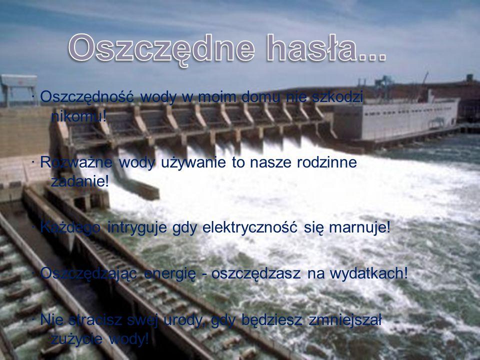 · Oszczędność wody w moim domu nie szkodzi nikomu! · Rozważne wody używanie to nasze rodzinne zadanie! · Każdego intryguje gdy elektryczność się marnu