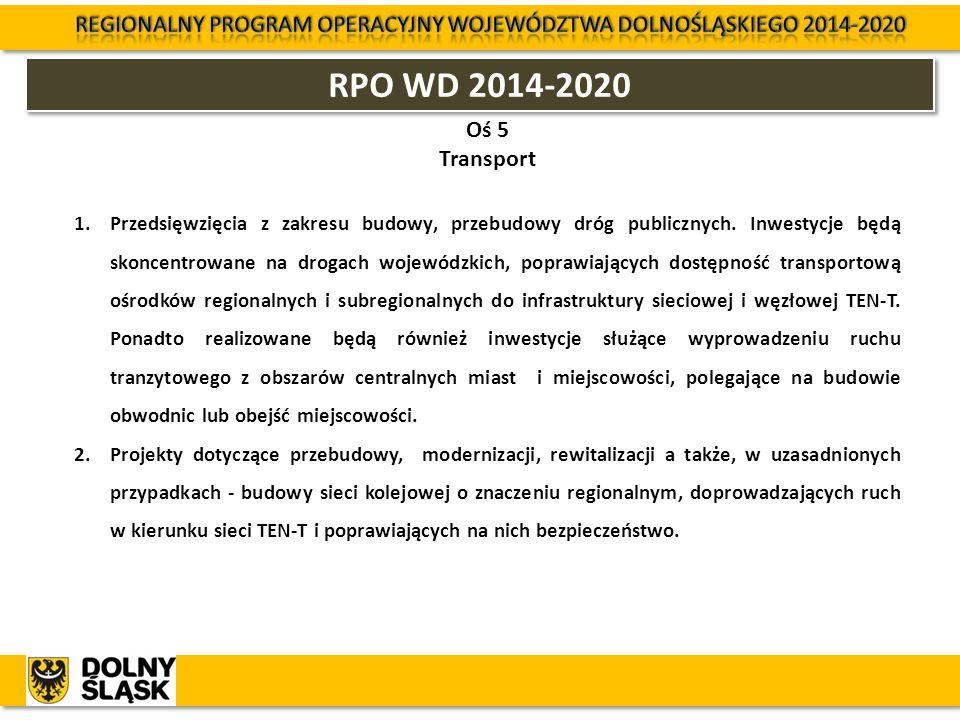 RPO WD 2014-2020 Oś 5 Transport 1.Przedsięwzięcia z zakresu budowy, przebudowy dróg publicznych. Inwestycje będą skoncentrowane na drogach wojewódzkic