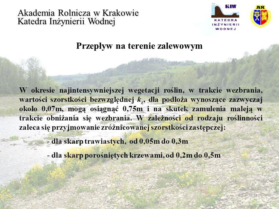 Przepływ na terenie zalewowym Akademia Rolnicza w Krakowie Katedra Inżynierii Wodnej W okresie najintensywniejszej wegetacji roślin, w trakcie wezbran