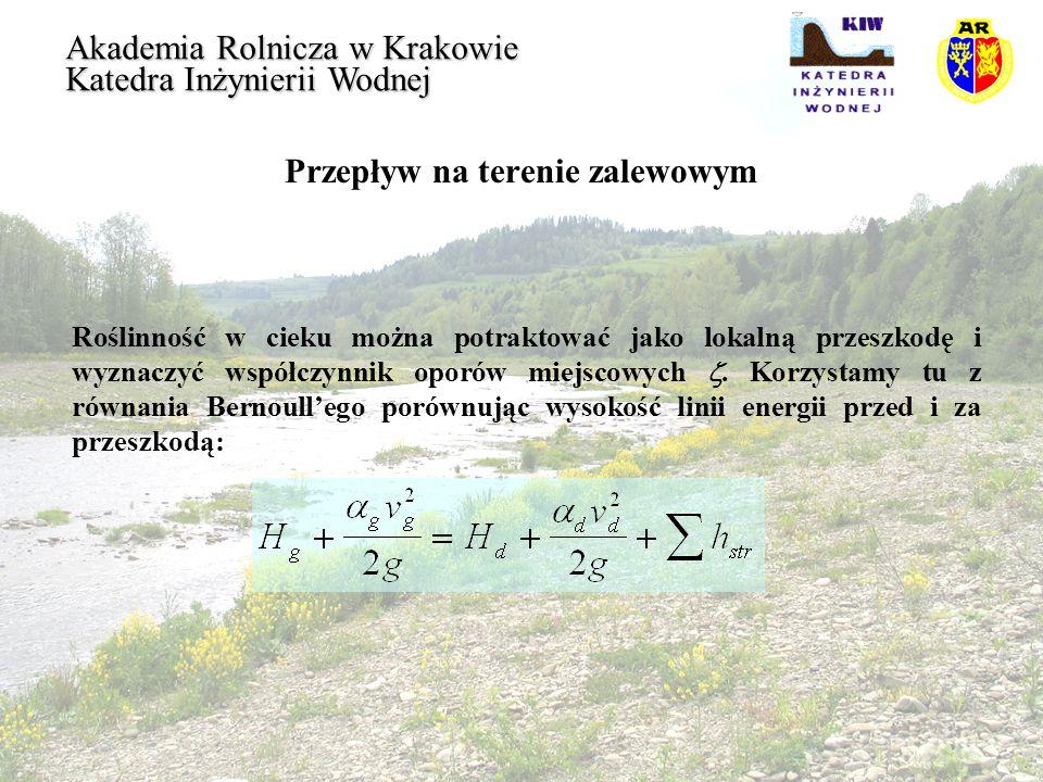 Przepływ na terenie zalewowym Akademia Rolnicza w Krakowie Katedra Inżynierii Wodnej Roślinność w cieku można potraktować jako lokalną przeszkodę i wy