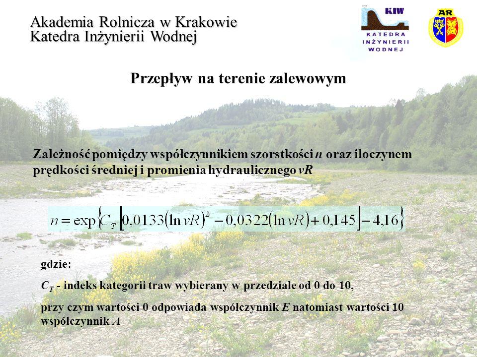 Przepływ na terenie zalewowym Akademia Rolnicza w Krakowie Katedra Inżynierii Wodnej Zależność pomiędzy współczynnikiem szorstkości n oraz iloczynem p