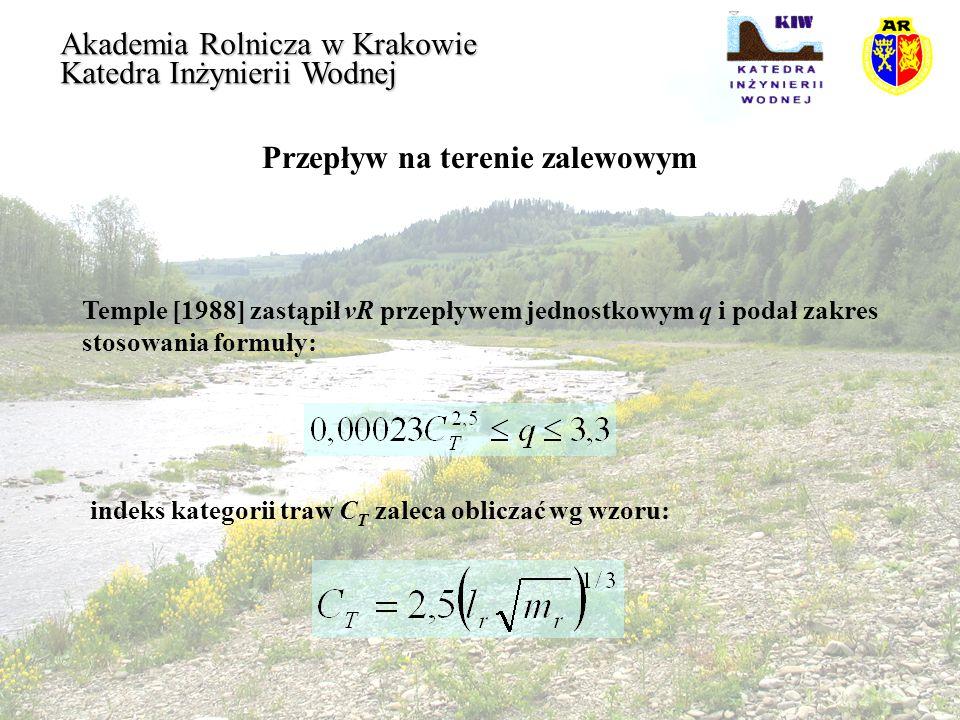Przepływ na terenie zalewowym Akademia Rolnicza w Krakowie Katedra Inżynierii Wodnej Temple [1988] zastąpił vR przepływem jednostkowym q i podał zakre