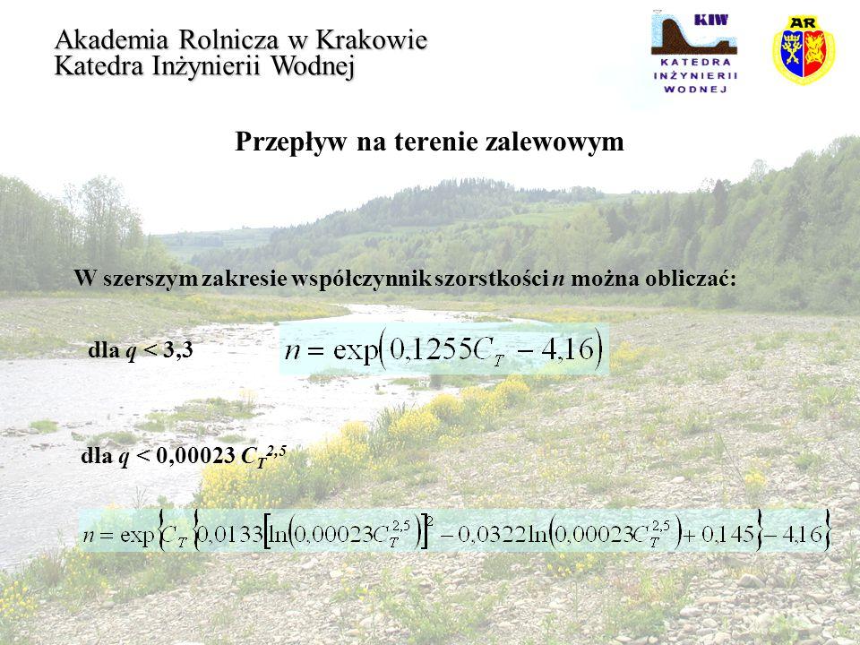Przepływ na terenie zalewowym Akademia Rolnicza w Krakowie Katedra Inżynierii Wodnej W szerszym zakresie współczynnik szorstkości n można obliczać: dl