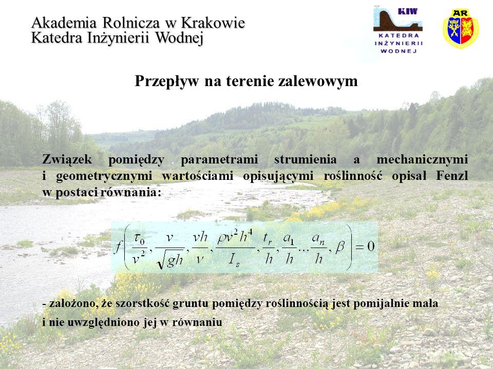 Przepływ na terenie zalewowym Akademia Rolnicza w Krakowie Katedra Inżynierii Wodnej Związek pomiędzy parametrami strumienia a mechanicznymi i geometr